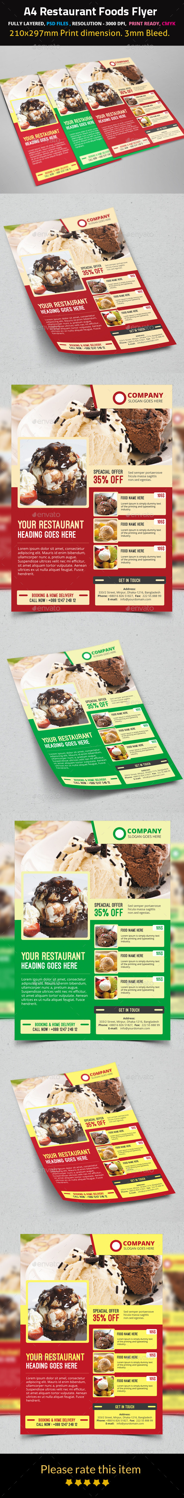 GraphicRiver Restaurant Foods Flyer 9558118