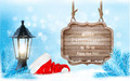 Winter christmas with a sign, lantern and a santa hat background.  - PhotoDune Item for Sale