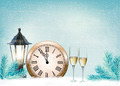Holiday retro background with champagne glasses and clock . Happy New Year. - PhotoDune Item for Sale