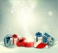Christmas holiday background with presents and magic box - PhotoDune Item for Sale