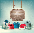 Winter background with gift boxes and a wooden ornate  - PhotoDune Item for Sale