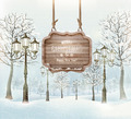 Winter landscape with lampposts and a wooden ornate Merry christmas sign - PhotoDune Item for Sale