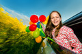 Laughing long-haired young girl with colourful balloons - PhotoDune Item for Sale