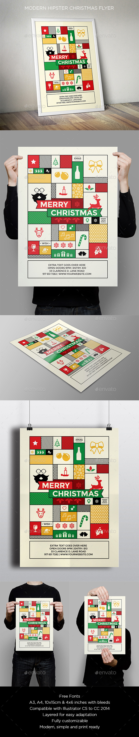 GraphicRiver Modern Hipster Christmas Flyer 9558528