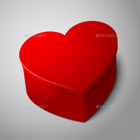 GraphicRiver red Heart Shaped Box 9558828