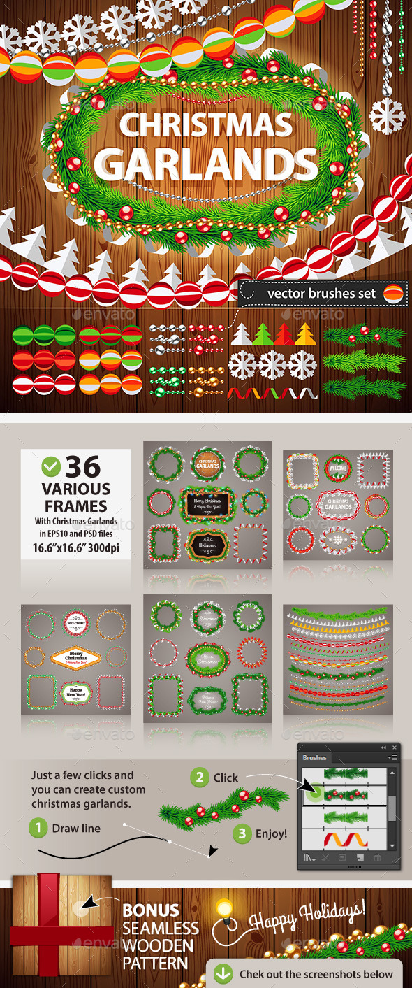 GraphicRiver Christmas Garlands Set for Celebratory Design 9559139