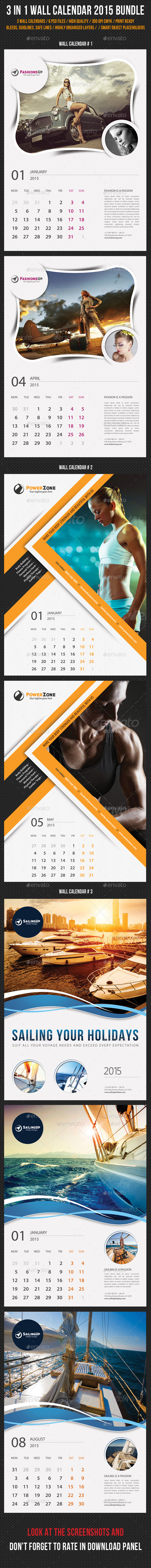 GraphicRiver 3 in 1 Wall Calendar 2015 Bundle V05 9559165