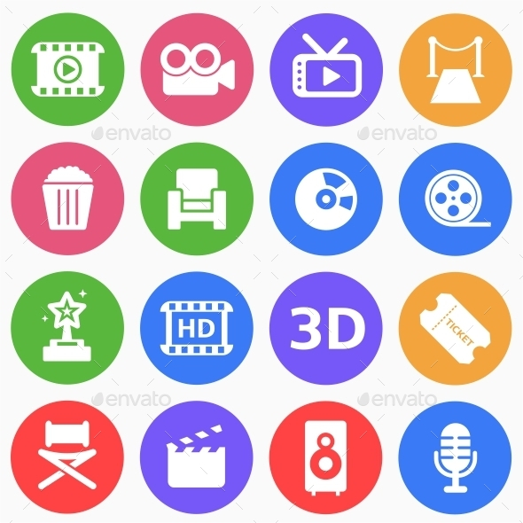 GraphicRiver Cinema and Movie Flat Icons 9559388