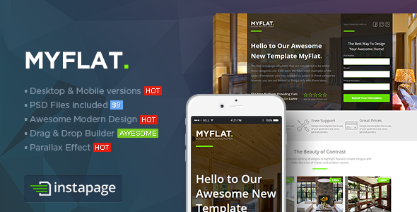 ThemeForest MYFLAT Real Estate Instapage Template 9559501