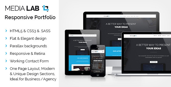 ThemeForest Media Lab Parallax OnePage Responsive Template 9121649