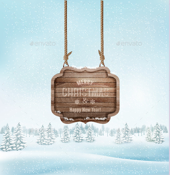 GraphicRiver Winter Christmas Landscape with a Wooden Sign 9559567