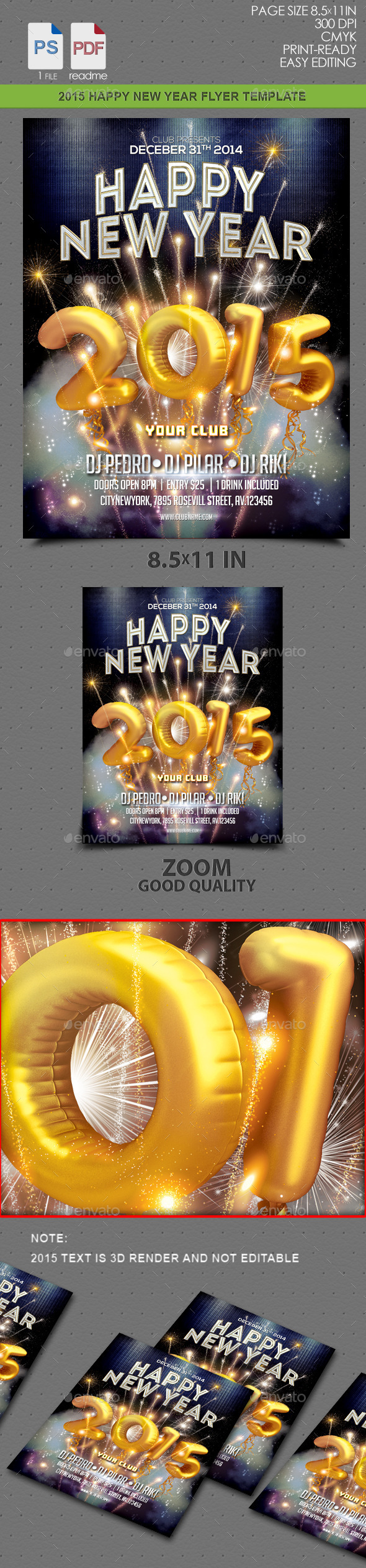 GraphicRiver 2015 HAPPY NEW YEAR FLYER 9469974