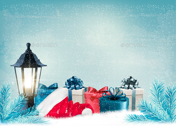 GraphicRiver Christmas Background with a Lantern and Presents 9559581