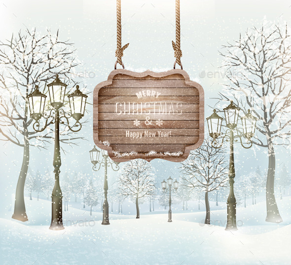 GraphicRiver Winter Christmas Landscape with a Wooden Sign 9559589