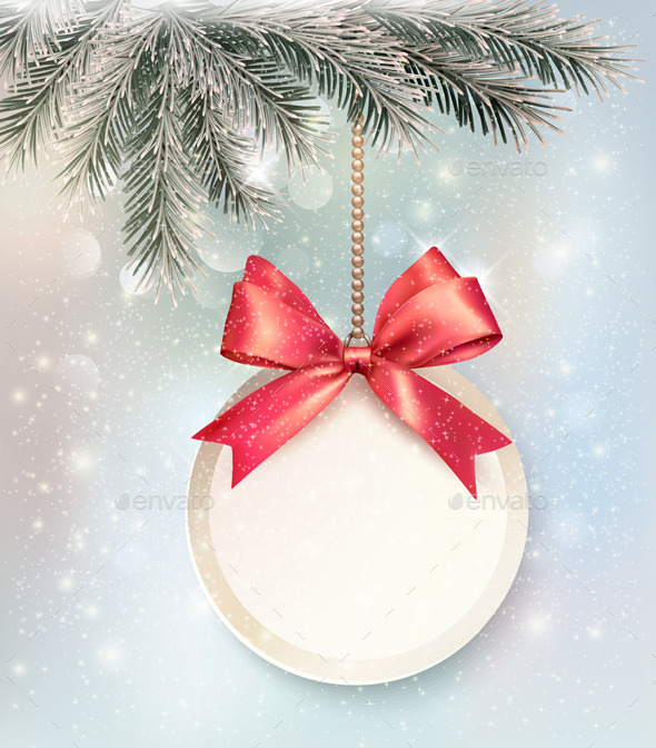 GraphicRiver Christmas Background with a Label and a Bow 9559594
