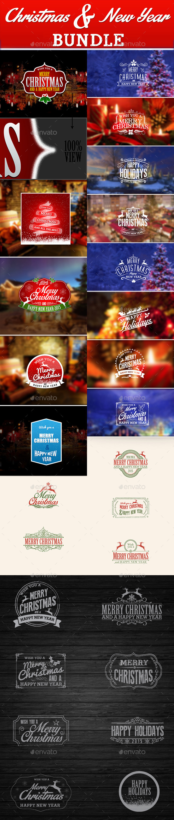 GraphicRiver Christmas and New Year Bundle 9559600