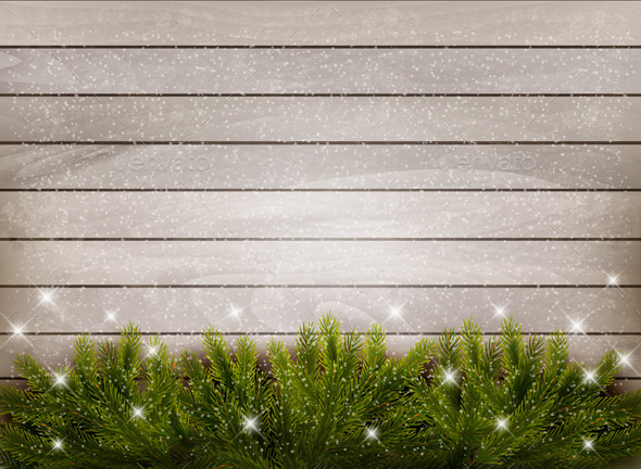 GraphicRiver Christmas Wooden Background with Branches 9559607