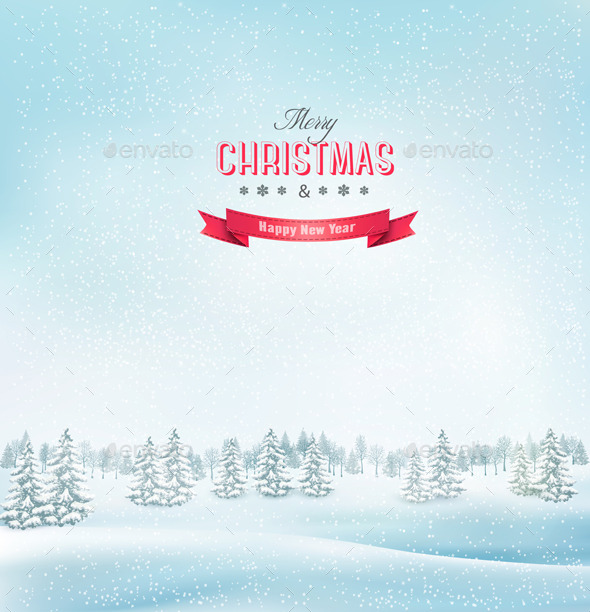 GraphicRiver Christmas Winter Landscape Background 9559631