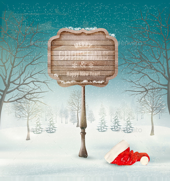 GraphicRiver Winter Christmas Landscape with a Wooden Sign 9559637