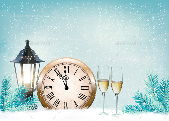 GraphicRiver Holiday Retro Background with Champagne Glasses 9559642