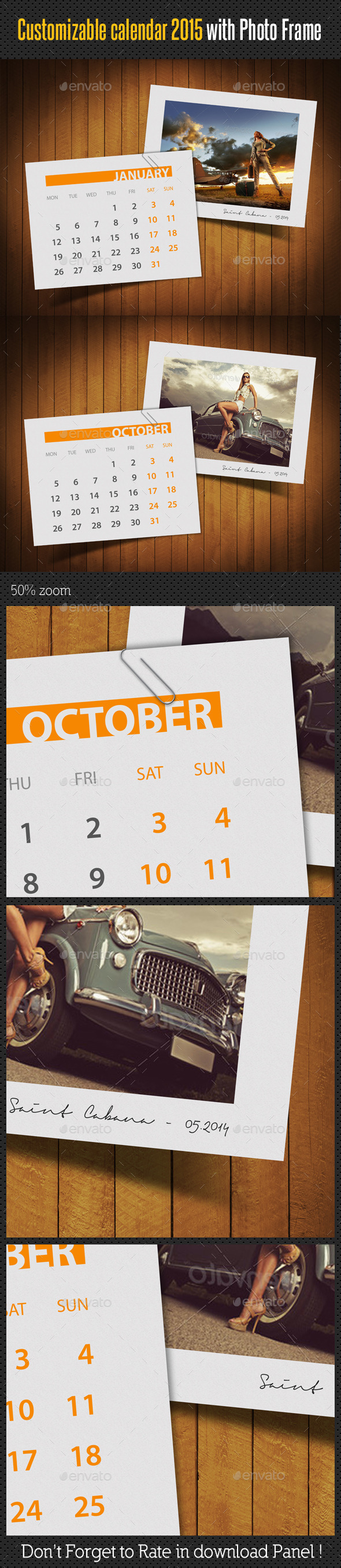 GraphicRiver Customizable Calendar 2015 Photo Frame V03 9559649