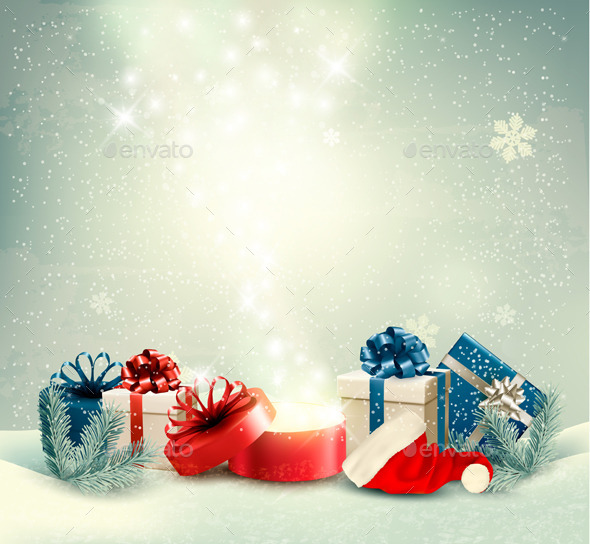 GraphicRiver Christmas Holiday Background with Presents 9559652