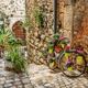 Narrow cobbled street with flowers in the old village Tourrettes - PhotoDune Item for Sale