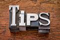 tips word in metal type - PhotoDune Item for Sale