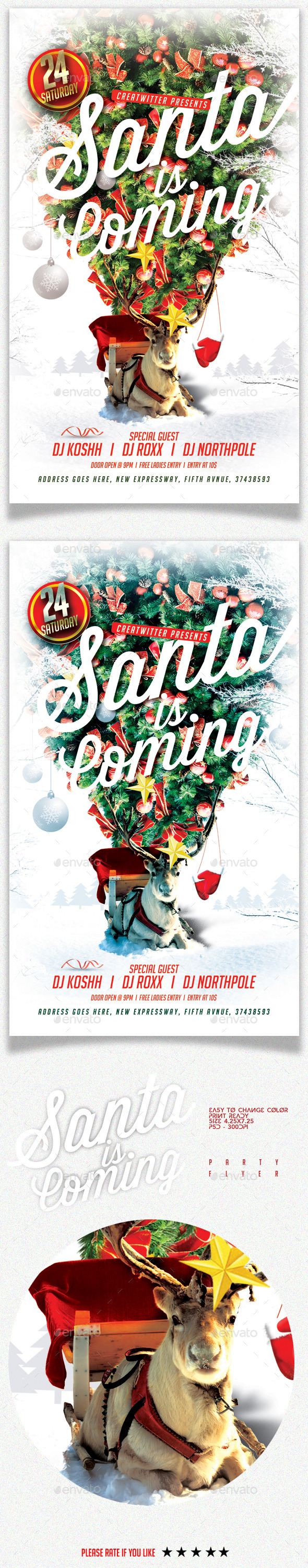 GraphicRiver Santa Is Coming Party Flyer 9561359