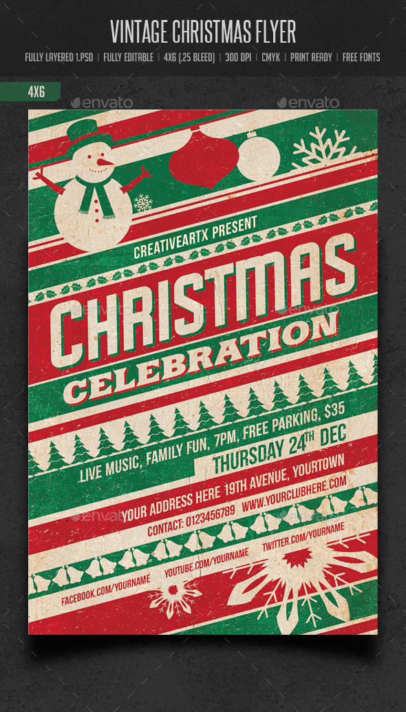 GraphicRiver Vintage Christmas Flyer 9561378