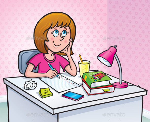 GraphicRiver Girl Working On A Homework Assignment 9561379