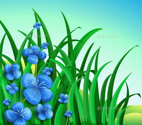 GraphicRiver A Garden in the Hill with Blue Flowers 9561387