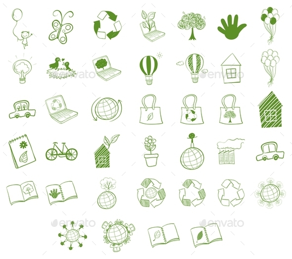 GraphicRiver Different Eco-Friendly Objects 9561421