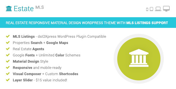 ThemeForest EstateMLS Material Design Real Estate MLS Theme 9469732