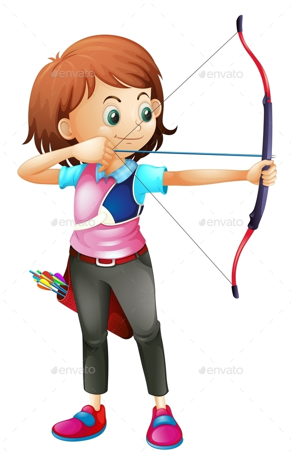 GraphicRiver Girl Playing Archery 9561461