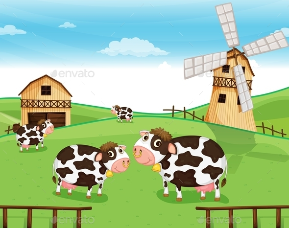 GraphicRiver Goats at the Farm with a Windmill 9561479