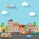 Town Street Flat Design - GraphicRiver Item for Sale