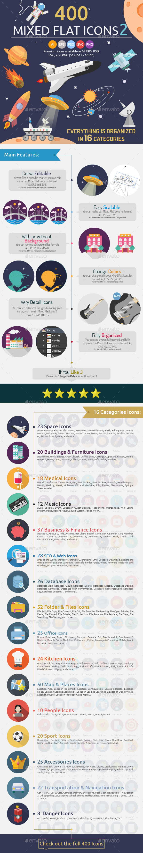 GraphicRiver 400 Mixed Flat Icons 2 9561708