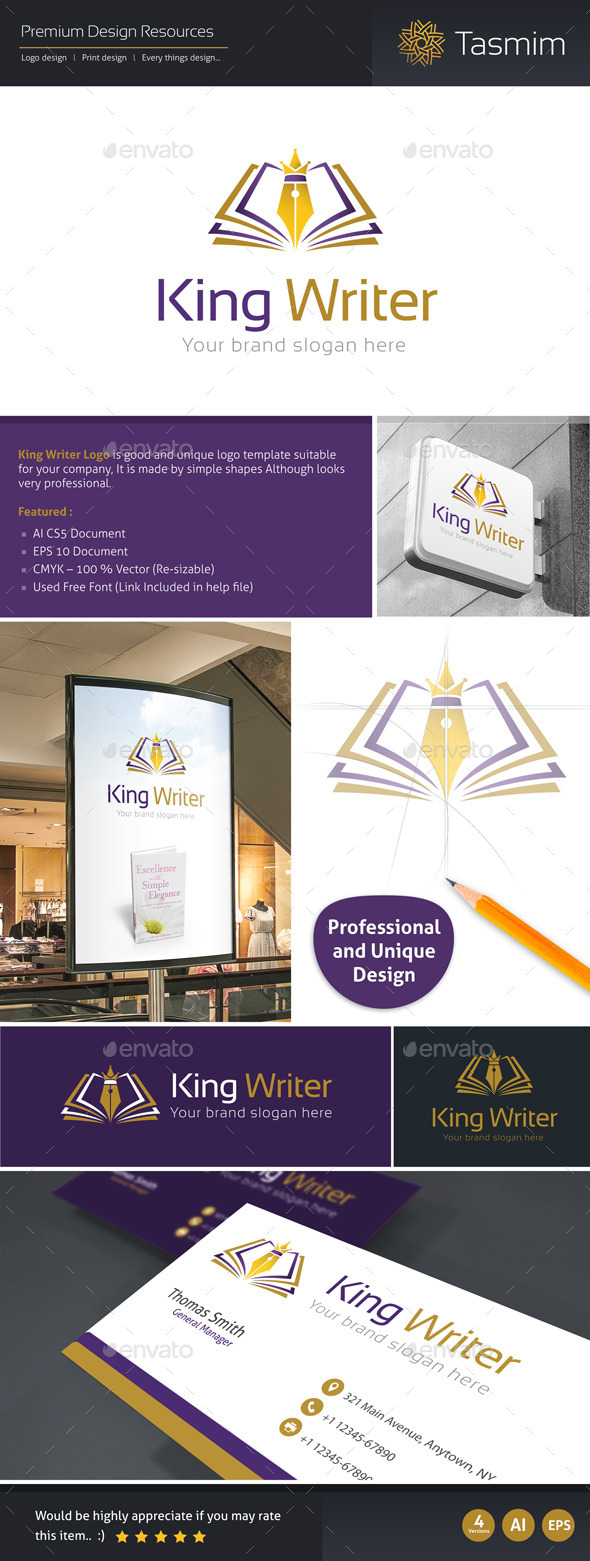 GraphicRiver King Writer Logo Template 9561861