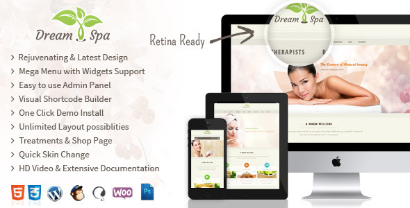 Dream Spa - Responsive Beauty Salon WordPress Theme - Health & Beauty Retail