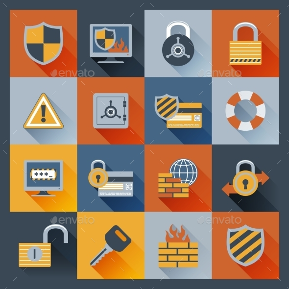 GraphicRiver Security Icons Set Flat 9562086