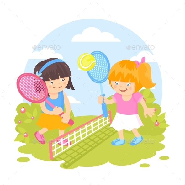 GraphicRiver Girls playing Tennis 9562118