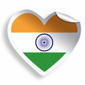 Heart sticker with flag of India isolated on white - PhotoDune Item for Sale