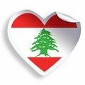 Heart sticker with flag of Lebanon isolated on white - PhotoDune Item for Sale