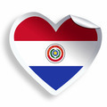 Heart sticker with flag of Paraguay isolated on white - PhotoDune Item for Sale