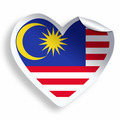 Heart sticker with flag of Malaysia isolated on white - PhotoDune Item for Sale
