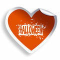 Orange heart sticker with Halloween grunge text and illustration - PhotoDune Item for Sale