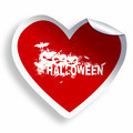 Red heart sticker with Halloween grunge text and illustration - PhotoDune Item for Sale