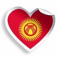 Heart sticker with flag of Kyrgyzstan isolated on white - PhotoDune Item for Sale