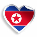 Heart sticker with flag of North Korea isolated on white - PhotoDune Item for Sale